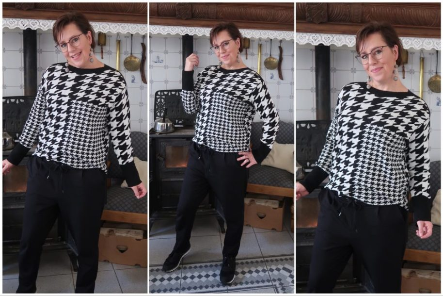 Grafisch patroon, grafisch, pied-de-poule, zwart, wit, geruit, ruit, trui, nieuw, street one, shoppen, fashion