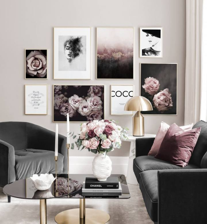 Poster store, posters, roze, Coco, chanel, wand, foto, lijsten, lifestyle, inspiratie