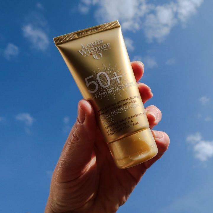 Sun, protection, spf 50, face, hoge, bescherming, gezicht, zon, allergie, gevoelig, huidkanker, Louis Widmer, beautysome, yustsome