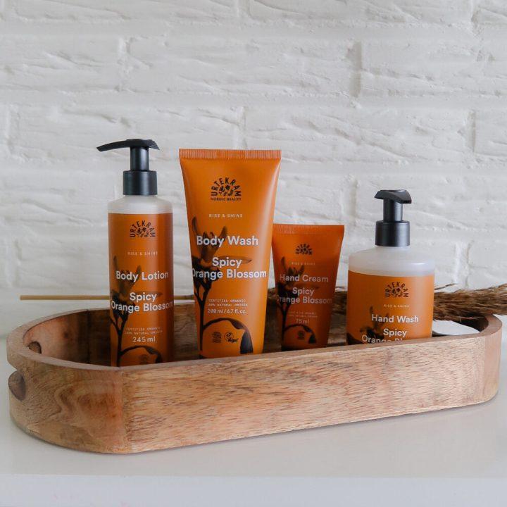Urtekram, spicy orange blossom, handrème, cream, body lotion, body wash, hand wash, natuurlijk, ecocert, vegan, review, beautysome