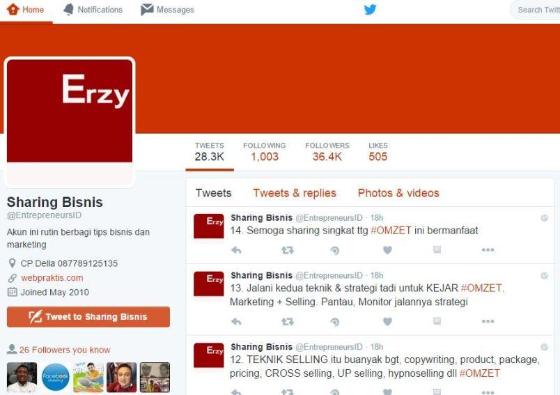 Contoh membangun kolam bisnis di twitter