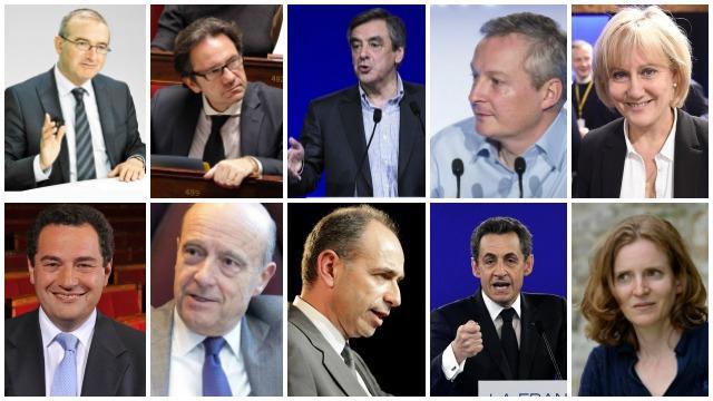 Hervé Mariton, Frédéric Lefebvre, François Fillon, Nadine Morano, Bruno Le Maire, Jean-Frédéric Poisson, Alain Juppé, Jean-François Copé, Nicolas Sarkozy et Nathalie Kosciuzko-Moriset. | AFP / Reuters / Ouest-France