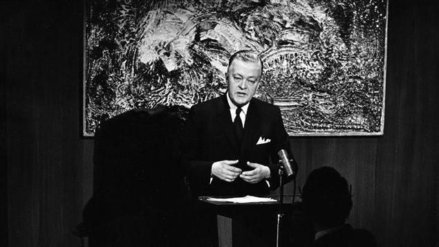 Jean Lesage, premier ministre du Québec, le 10 mars 1963 Photo : Radio-Canada/André Le Coz