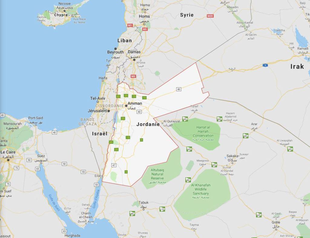 Où est la Jordanie au Moyen Orient ?