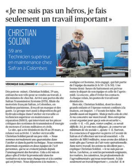 le Figaro 4 avril : Les techniciens de maintenance sont aussi utiles à l'économie du pays