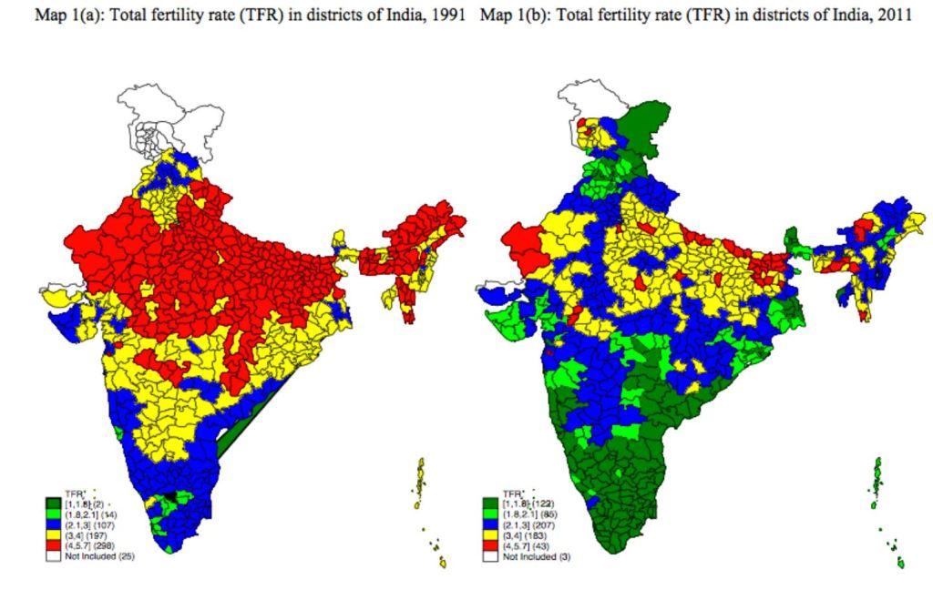 Fertilité en inde 1991 - 2011