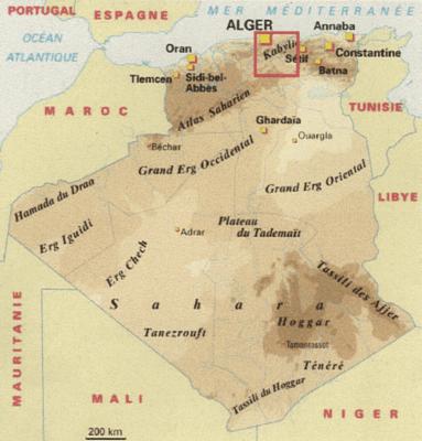 Situer la Kabylie en Algérie