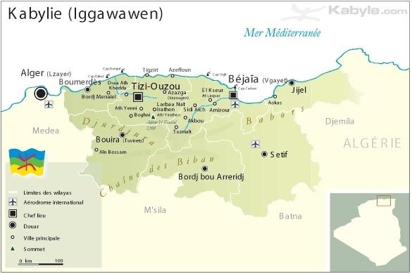 Carte de la Kabylie au Nord de l'Algérie, avec ses 2 villes principales Tizi Ouzou et Béjaïa