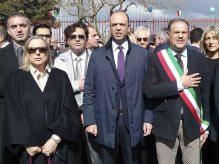 Adrano, inaugurazione asilo nido. Da sinistra: il Prefetto di Catania Maria Guia Federico, il Ministro Angelino Alfano, il Sindaco Pippo Ferrante