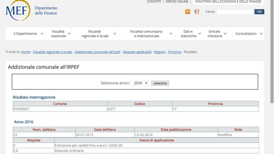 Paternò, l'addizionale Irpef 2016 dallo 0,8 allo 0,4%