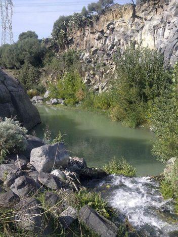 In primo piano una sorgente d'acqua sfocia nel Simeto