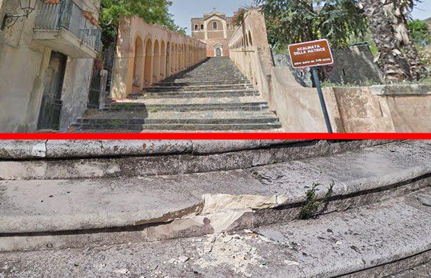 Paternò, teppisti danneggiano la scalinata di Santa Maria dell'Alto