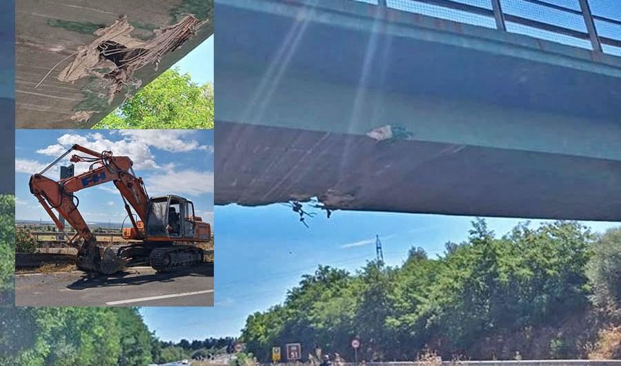 A19 Catania-Palermo, escavatore su camion urta contro un ponte a Gelso Bianco