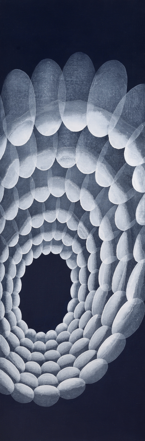 Yvonne Behnke white on dark blue painting transparent white ovals forming a tunnel