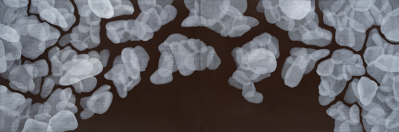 Yvonne Behnke white on dark red painting transparent round organic forms