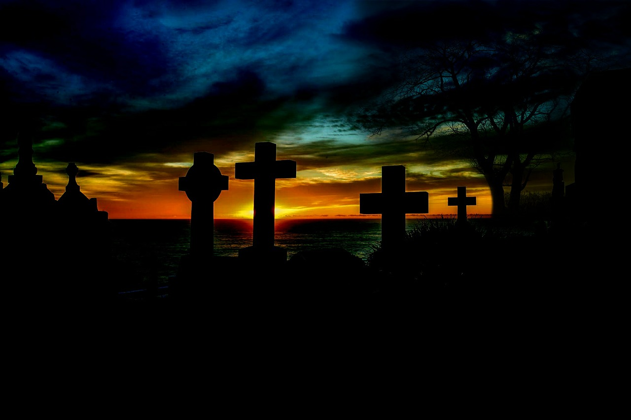 sunrise over graveyard, reminding us to live