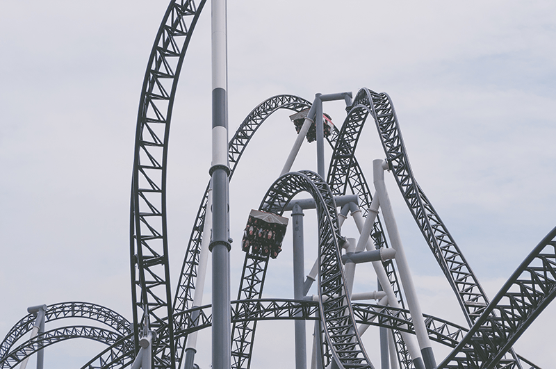 A roller coaster at an amusement park.