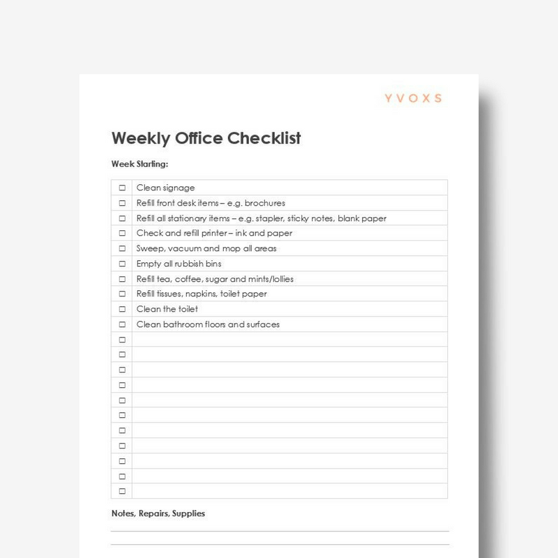 Daily Weekly Office Checklists – Weekly Checklist