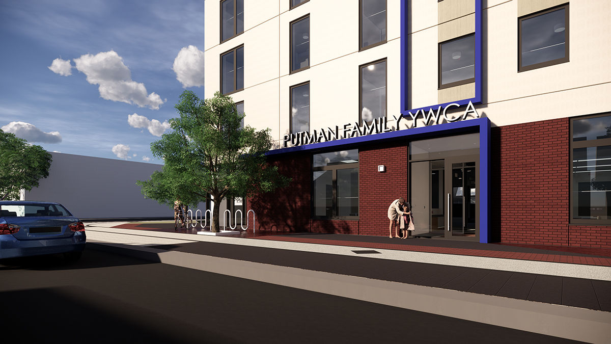 Rendering of newly-named Putman Family YWCA in daylight hours