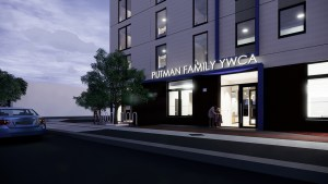 Rendering of newly-named Putman Family YWCA at night