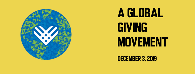 """text reads """"A global giving movement December 3, 2019"""" with globe illustration made out of patterned Giving Tuesday logo"""