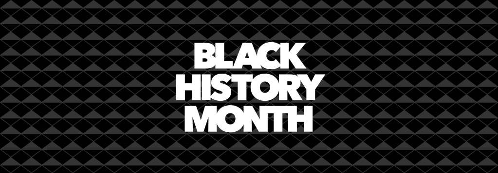 "black and grey geometric background with the text ""black history month"""