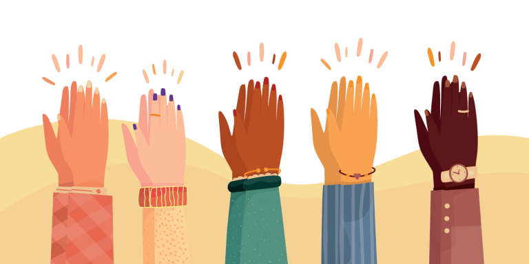 Modern illustration of international human hands clapping