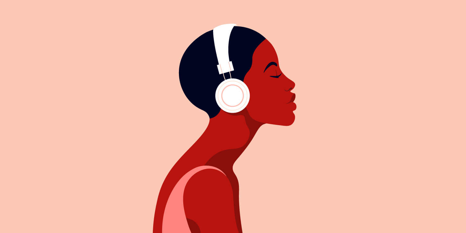 vector illustration of a young Black woman listening to music on headphones
