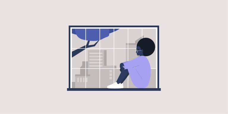 Young black female character sitting at the window