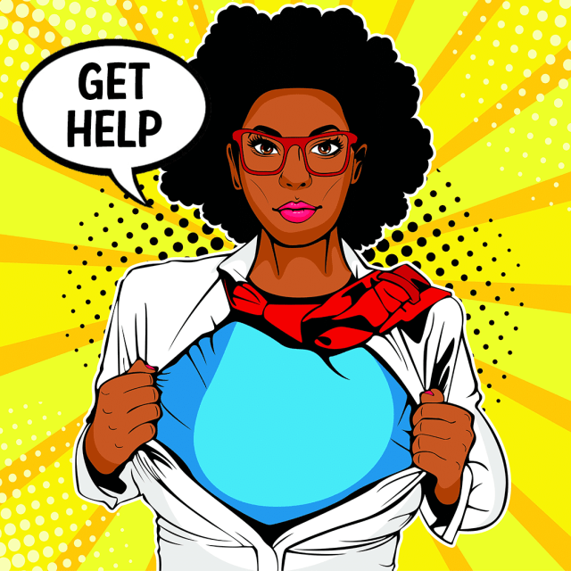 A dark-skinned, superhero worker - Get in touch with us for employment help.