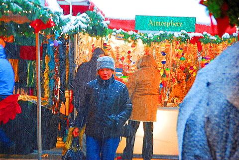 NY- Columbus Circle Holiday Market in the snow