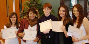 Greenleaf Scholarship Finalists Crystalfaith Rickman and Karina Vanegas, Scholarship winner Timothy Hesse, and Finalists Jacynda Gutierrez and Katelyn Sage.