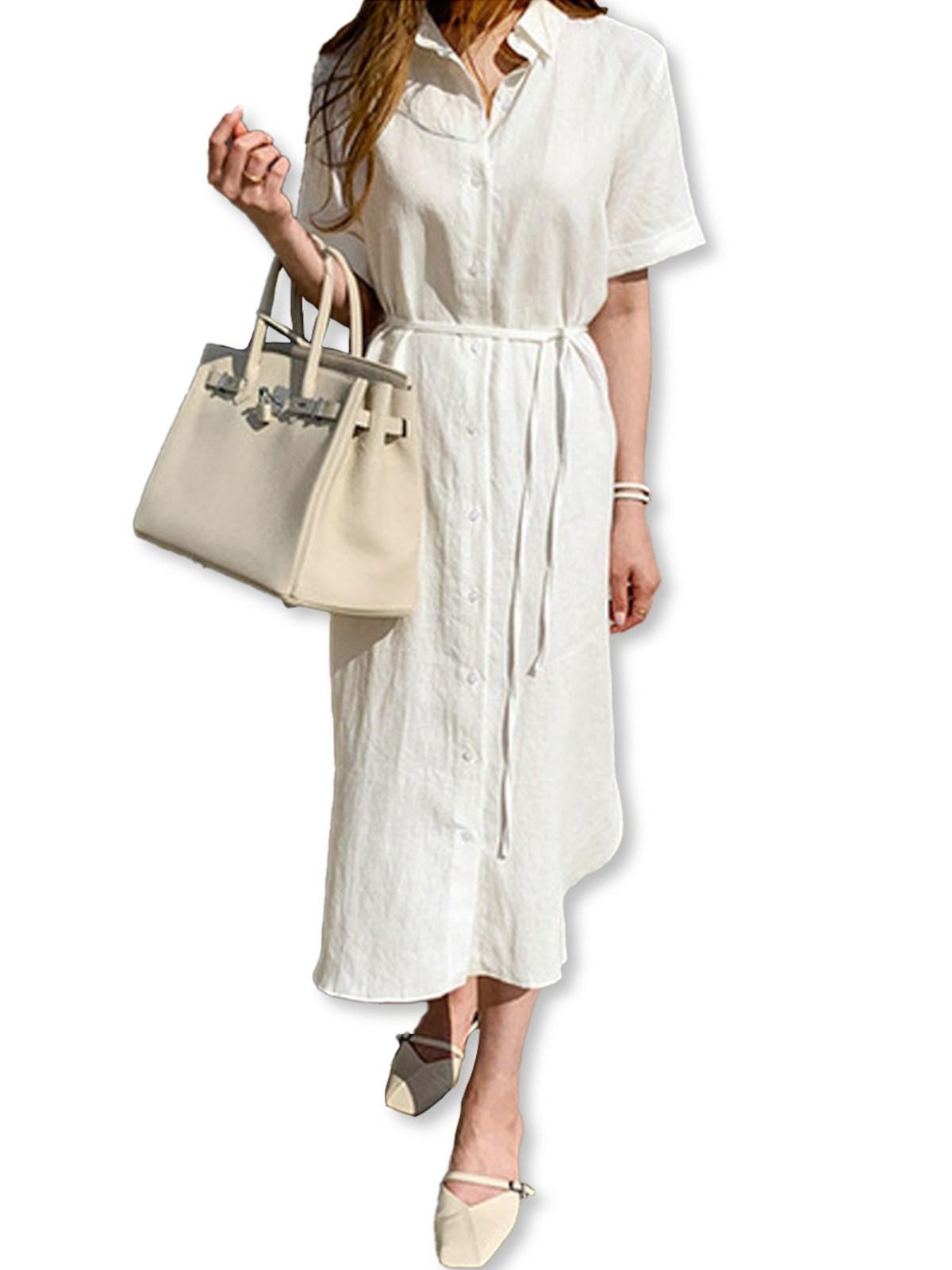 レディースシャツドレスワンピース・ホワイト・ワンサイズ
