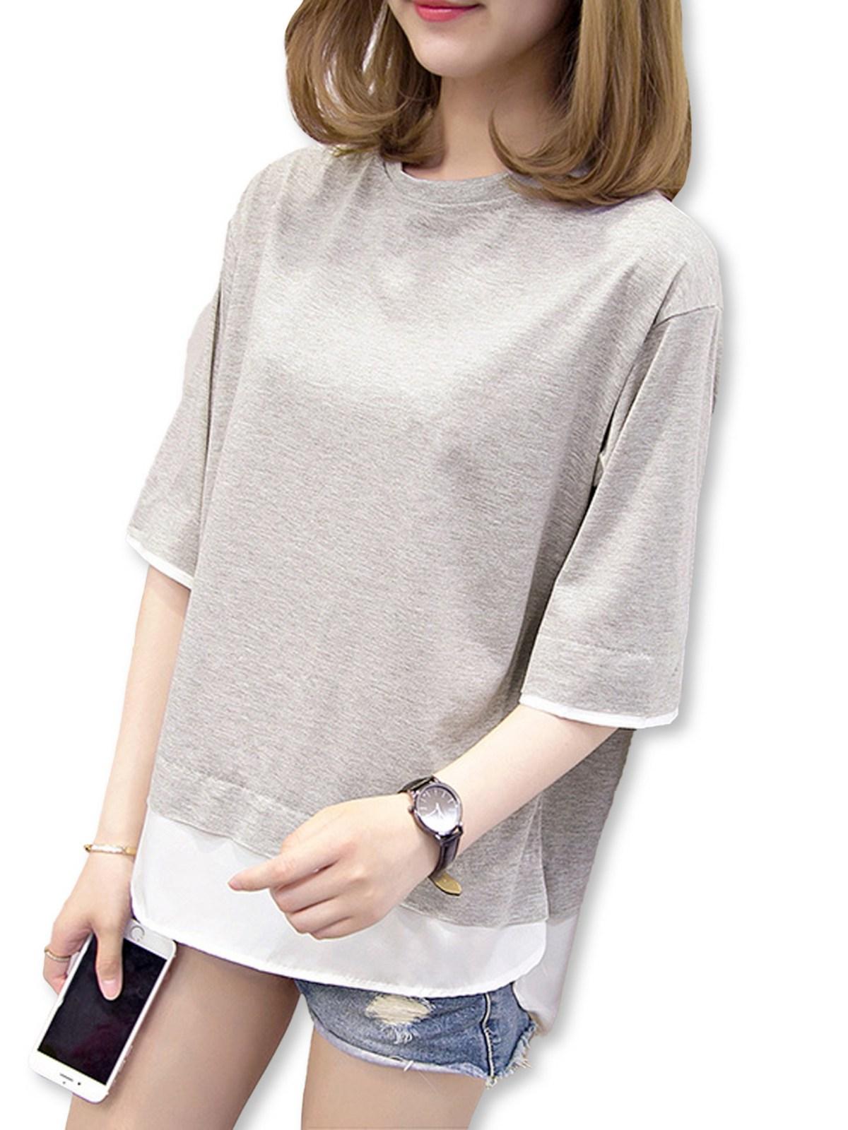 レディース レイヤード & BF スタイル 2カラー Tシャツ・グレー&W・ワンサイズ