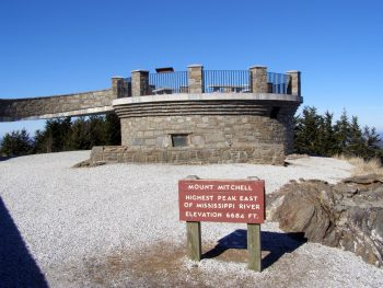 Dr. Elisha Mitchell grave site at Mt. Mitchell observation tower
