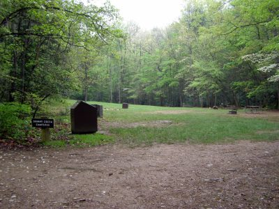 Shinny Creek Campsites at the Headquarters Trail junction