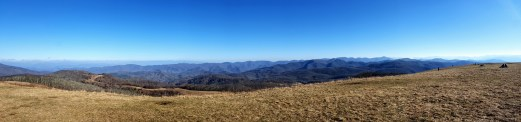 Eastern panorama of the Bald, Black, and Newfound Mountain ranges from Max Patch
