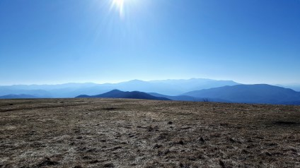 Southern view of the Plott Balsam and Great Smoky Mountain ranges from Max Patch