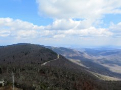 The Blue Ridge Parkway snaking north along Pisgah Ridge