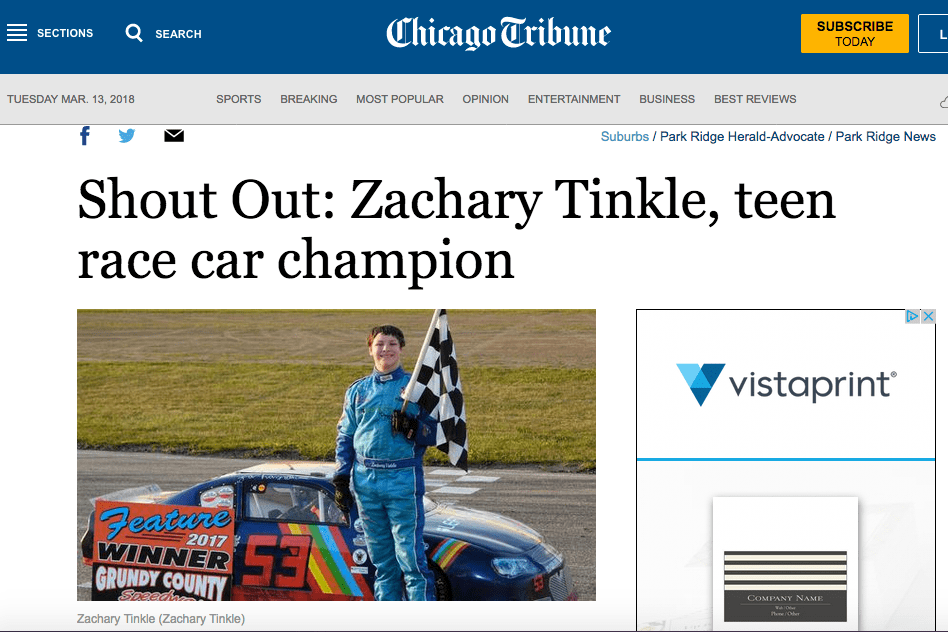 Zachary Tinkle Shout Out in Park Ridge Herald Advocate/ Chicago Tribune