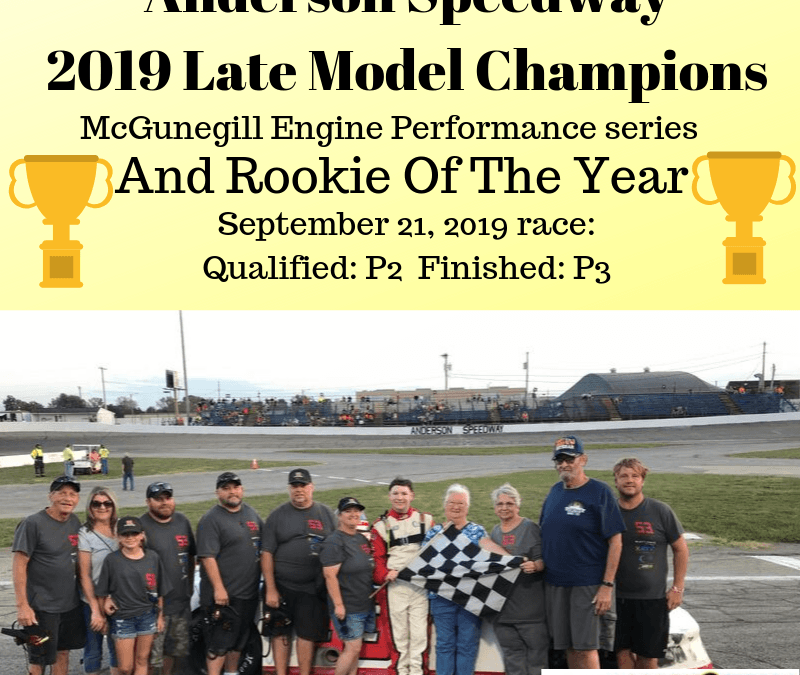 Tinkle Wins MEP Late Model Series Season Championship and Rookie of the Year at Anderson Speedway