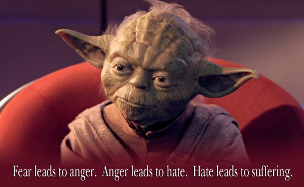 Yoda anger fear suffering hate quote