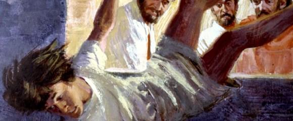 Eutychus sleep falling out a window during Paul's sermon