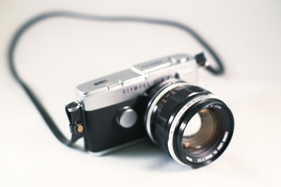 Pen with EOS adapter and FL 55mm f/1.2 lens (custom machined to EF mount).  Photograph by Zach Horton.