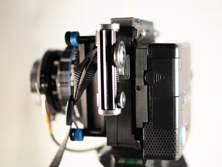 The Mercury, in medium format film mode, sporting a Mercury modified Instax Mini back.