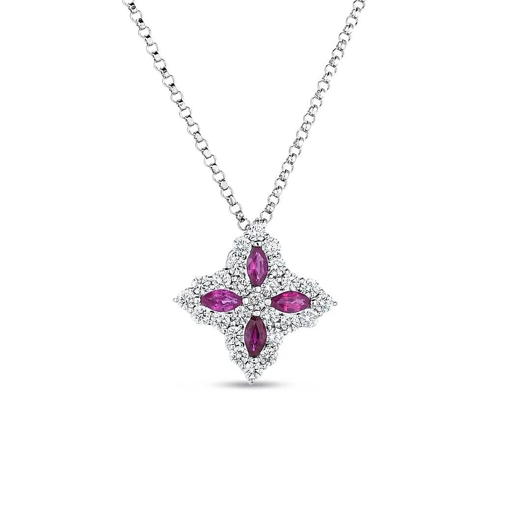 18k Gold Diamond Amp Ruby Princess Flower Medium Pendant