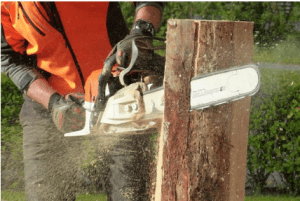 cutting wood with a saw