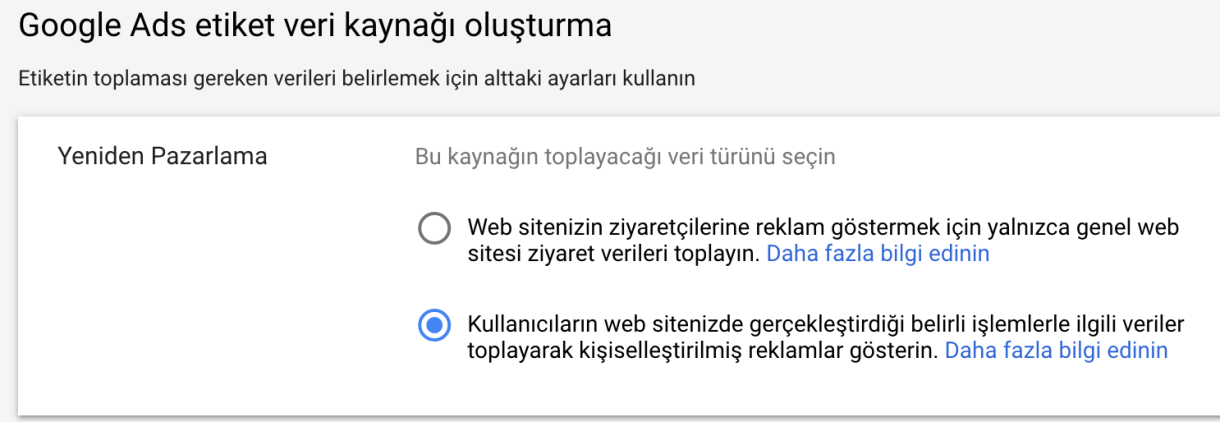 google ads etiketi veri kaynagi olusturma