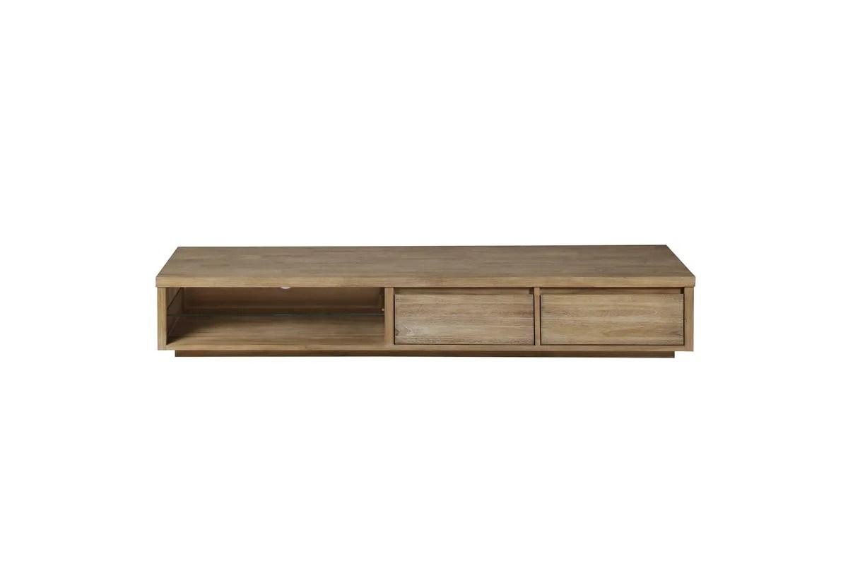 meuble tv teck teinte clair 180 cm 2 niches 2 tiroirs cosmopolitan