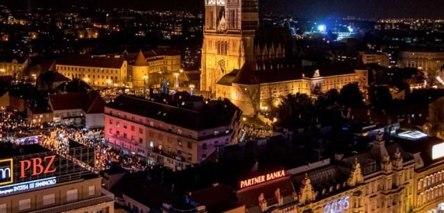 Zagreb by night from Zagreb 360